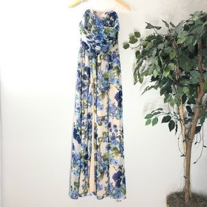 LuLus Floral Strapless Gown With Slit